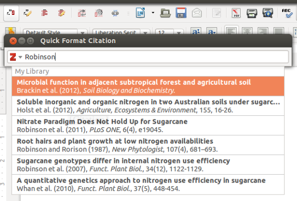 Zotero integration in LibreOffice