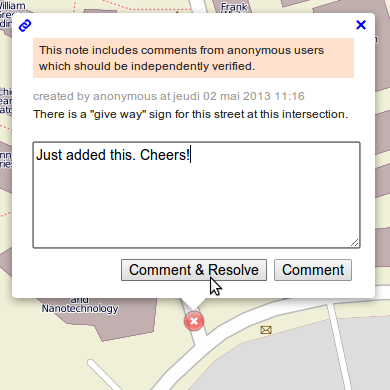 Resolve a note on OSM